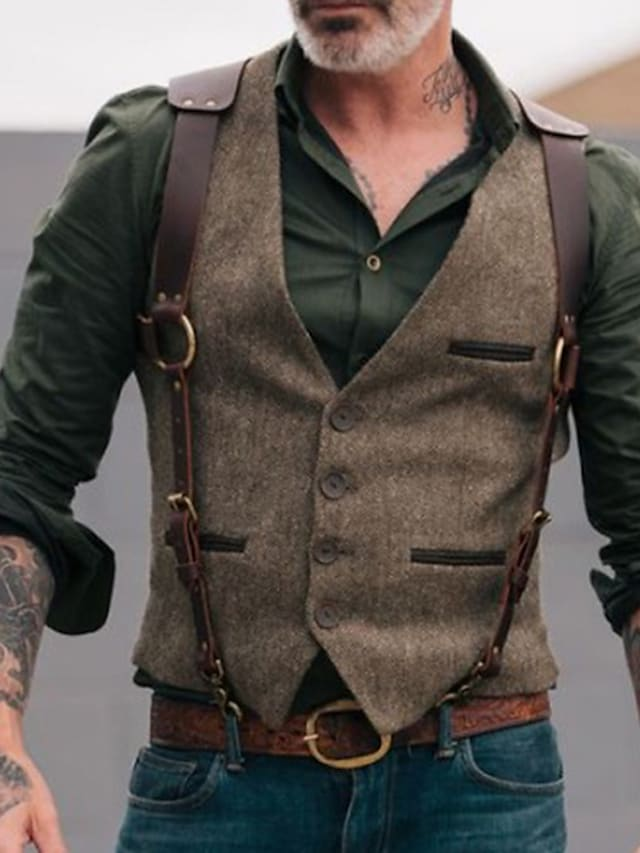 Men's Suit Vest Gilet Waistcoat Party Evening Camping & Hiking Outdoor Casual Vintage Victorian Solid Colored Single Breasted One-button Slim Polyester Men's Suit Brown - V Neck / Sleeveless