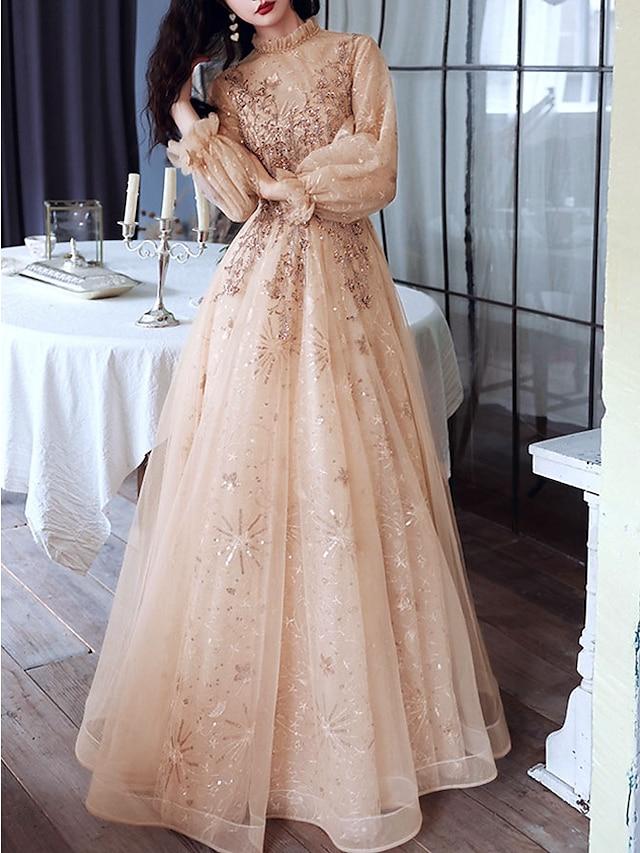 A-라인 반짝이는 우아함 약혼 포멀 이브닝 드레스 하이 넥 긴 소매 바닥 길이 튤 와 스팽글 2021
