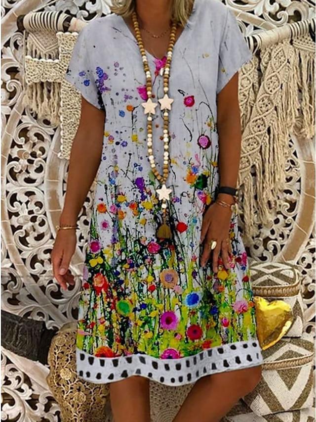 Women's Shift Dress Knee Length Dress White Short Sleeve Print Print Summer V Neck Casual 2021 M L XL XXL 3XL
