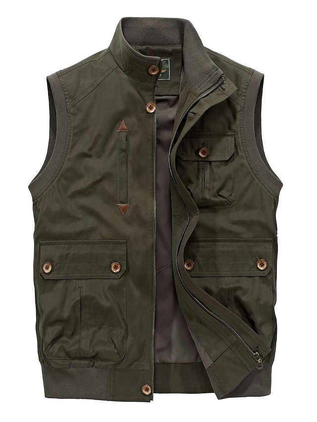 Men's Vest Gilet Street Daily Going out Fall Spring Regular Coat Regular Fit Windproof Breathable Sporty Casual Streetwear Jacket Sleeveless Solid Color Full Zip Pocket Army Green Khaki Coffee