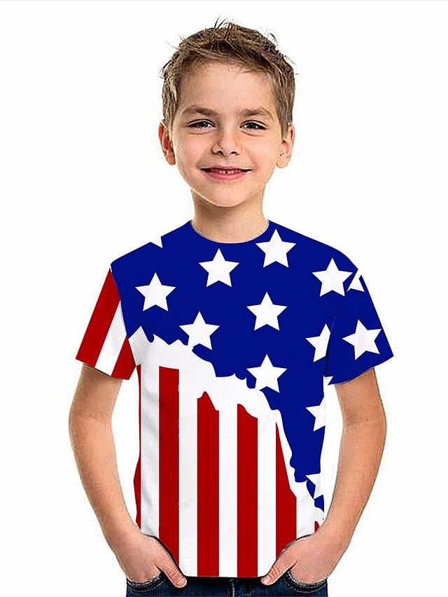 Kids Boys' T shirt Short Sleeve American flag 3D Print Graphic Flag Print Blue Children Tops Summer Active Daily Wear Regular Fit 4-12 Years