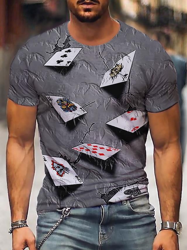Homens Camisetas Camiseta Impressão 3D Gráfico 3D Pôquer Tamanhos Grandes Estampado Manga Curta Festa Normal Blusas Casual Vintage Decote Redondo Roxo Amarelo Azul