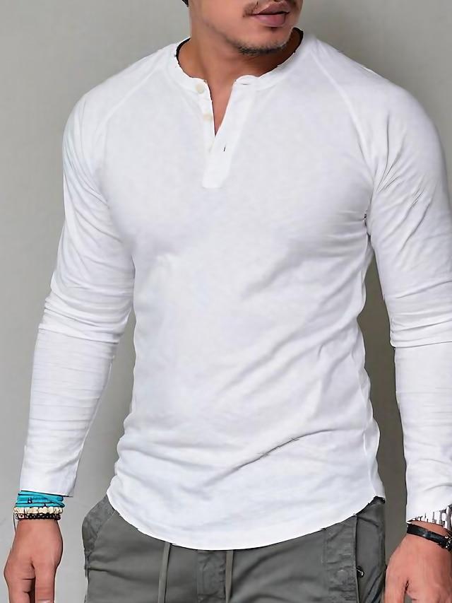 남성용 티셔츠 T 셔츠 솔리드 단추 긴 소매 캐쥬얼 탑스 베이직 클래식 크고 크고 아미 그린 그레이 카키 / 이 스타일은 정사이즈로 제작되었습니다. / 습식 혹은 건식클립닝