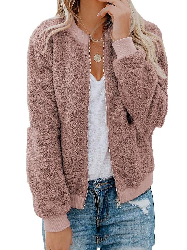 Women's Teddy Coat Solid Colored Oversized Sporty Outerwear Regular Coat Street Long Sleeve Jacket