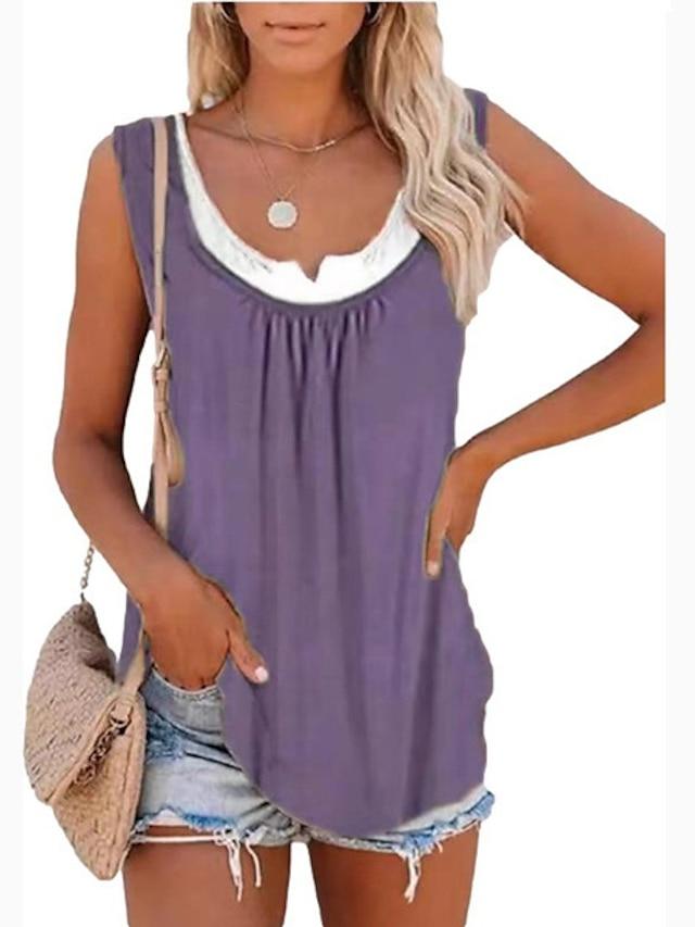 Women's Tank Top Vest Plain Print U Neck Streetwear Boho Tops Blue Purple Blushing Pink