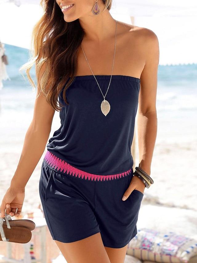 Women's Casual 2021 Black Dark Blue Romper Solid Color Cotton