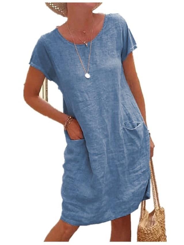 Dam Skiftklänning Knälång klänning Kortärmad Ensfärgat Ficka Vår Sommar Rund hals Ledigt Klassisk Ledig 2021 S M L XL 2XL 3XL 4XL 5XL
