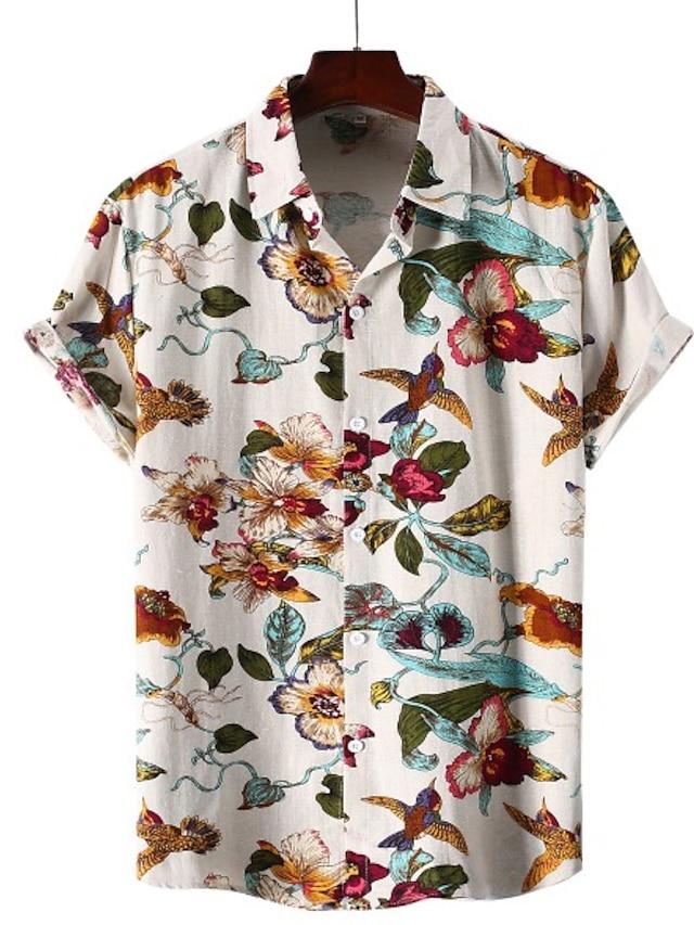 Men's Shirt Other Prints Geometry Plus Size Print Short Sleeve Vacation Tops Slim Fit B