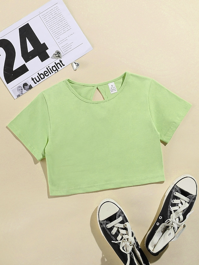 LITB Basic Women's Teardrop Back Crop Top Solid Colored T-Shirt Basic Daily Wear