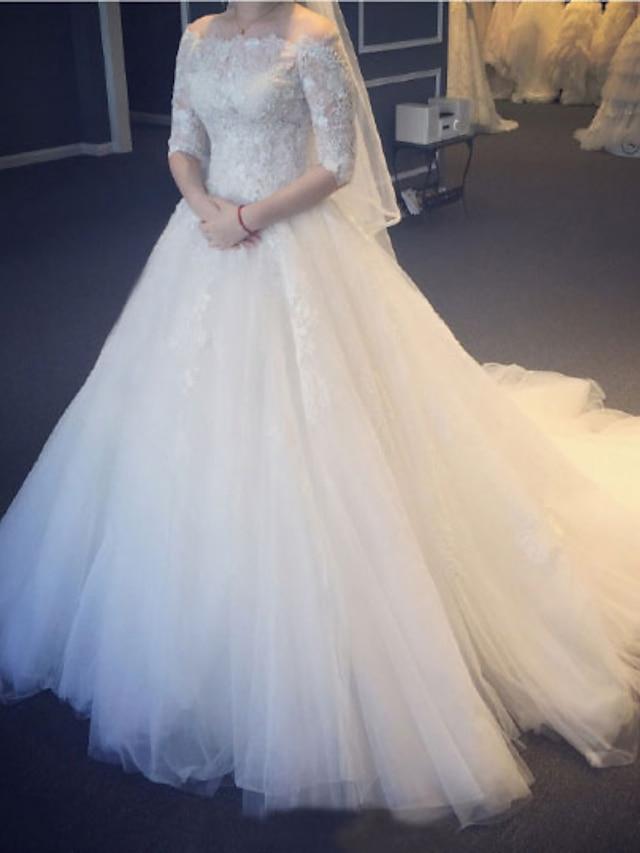 Księżniczka Balowa Suknie ślubne Z odsłoniętymi ramionami Tren w stylu sądowym Koronka Tiul Rękaw 1/2 Eleganckie z Plisy Haft nakładany 2021