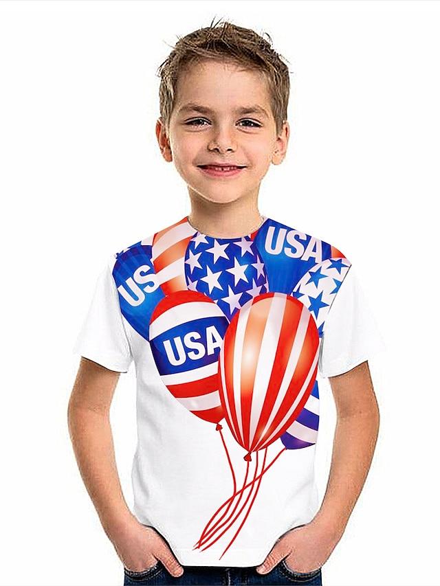Kids Boys' T shirt Short Sleeve American flag 3D Print Graphic Flag Print White Children Tops Summer Active Daily Wear Regular Fit 4-12 Years