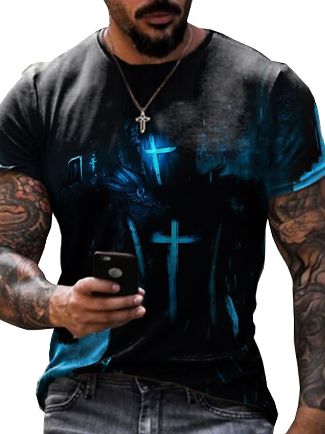 Men's Tee T shirt Shirt 3D Print Graphic Prints Eagle Print Short Sleeve Daily Tops Casual Designer Big and Tall Round Neck Blue Gray Black / Summer