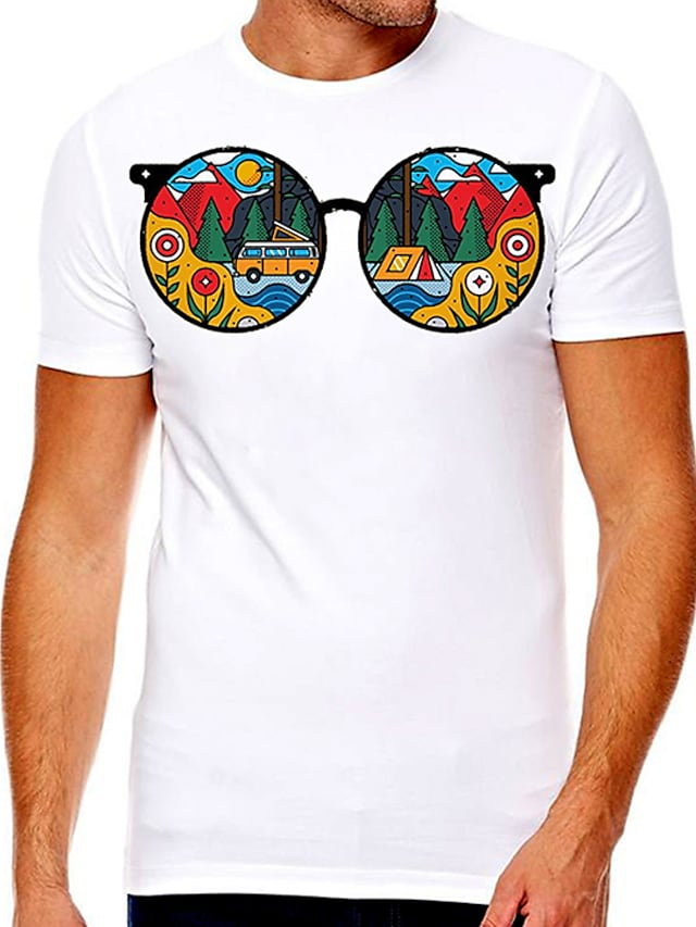 Men's Unisex Tee T shirt Hot Stamping Graphic Prints Tree Glasses Plus Size Print Short Sleeve Casual Tops Cotton Basic Designer Big and Tall A B