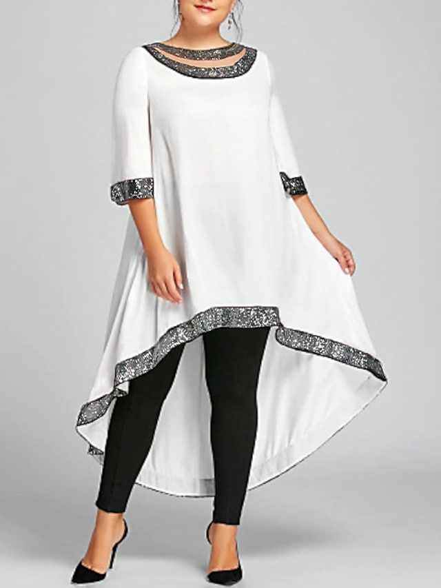 Women's Plus Size Swing Dress Midi Dress White Black Blue Wine Navy Blue Half Sleeve Solid Color Clothing Spring Summer Round Neck Casual 2021 XL XXL 3XL 4XL 5XL Plus Size