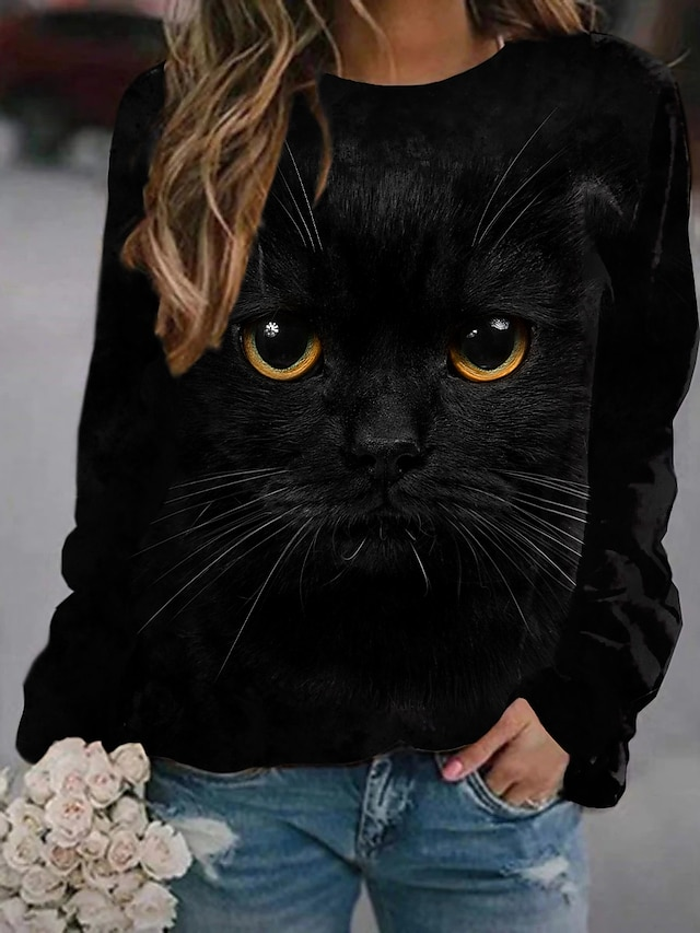 Women's Sweatshirt Pullover Cat 3D Animal 3D Print Daily Sports 3D Print Active Streetwear Hoodies Sweatshirts  Black