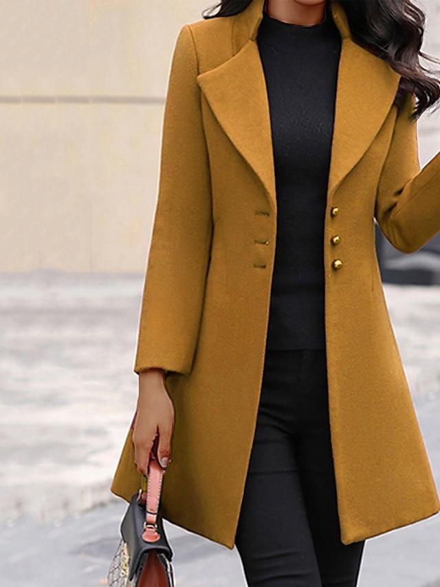 Γυναικεία Παλτό Καθημερινά Χειμώνας Μακρύ Παλτό Κανονικό Κομψό Σακάκια Μακρυμάνικο Συμπαγές Χρώμα Κουρελού Κίτρινο Γκρίζο Μαύρο