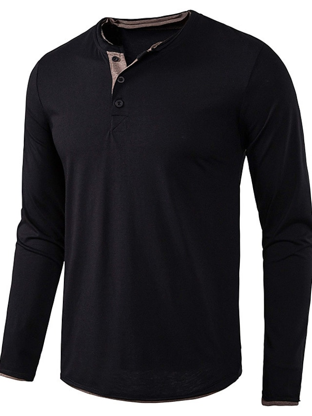 LITB Basic Men's Button-Up Shirt Long Sleeves Tops Solid Color Casual Simple