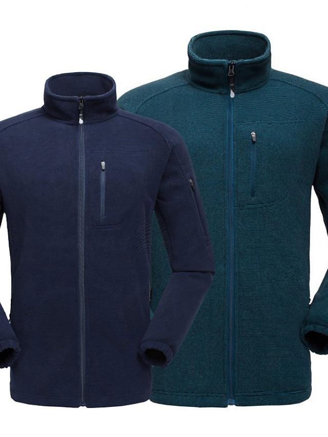 Men's Polar Fleece Street Daily Going out Fall Winter Regular Coat Regular Fit Warm Breathable Sporty Casual Streetwear Jacket Long Sleeve Solid Color Pocket Blue Dark Grey Ocean Blue