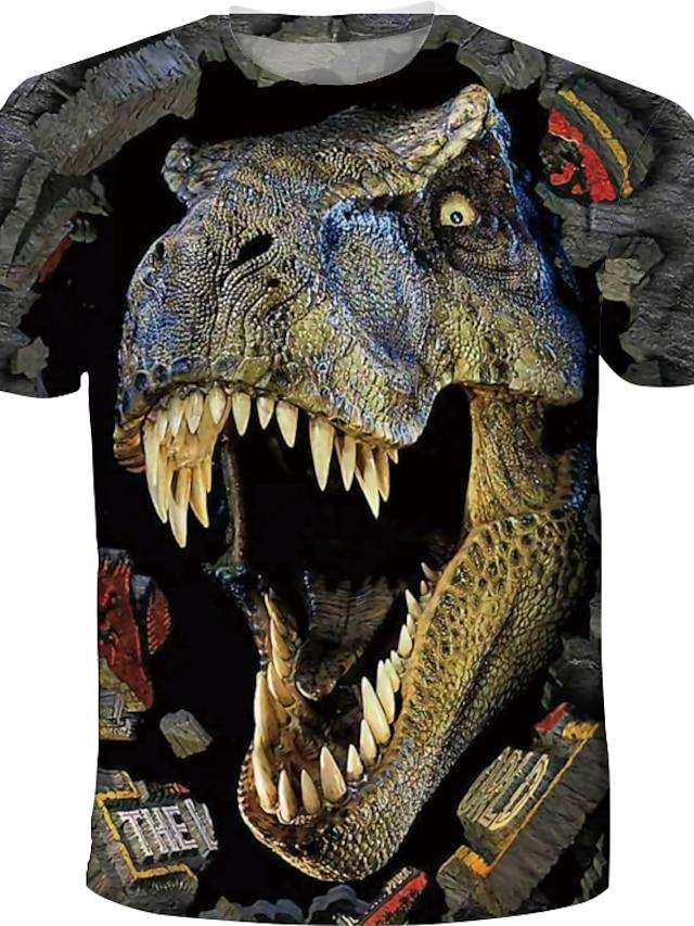아동 남아 T 셔츠 티셔츠 짧은 소매 공룡 3D 인쇄 컬러 블럭 동물 크루 넥 신속한 건조 푸른 옐로우 카키 어린이 탑스 여름 베이직 스트리트 쉬크 캐쥬얼 3 ~ 12 세