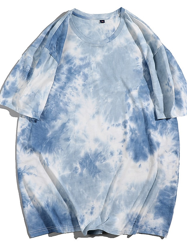Women's Painting T shirt Tie Dye Print Round Neck Basic Tops Oversized 100% Cotton Blue