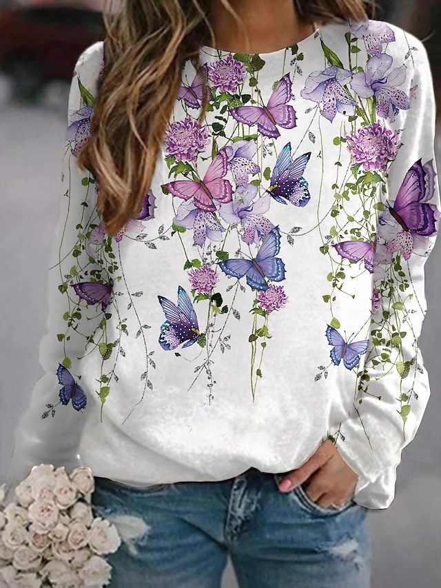 Women's Sweatshirt Pullover Floral Butterfly Print Daily Sports 3D Print Active Streetwear Hoodies Sweatshirts  Yellow Blushing Pink Green