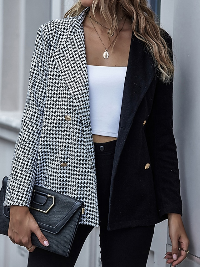 Women's Trench Coat Houndstooth Patchwork Streetwear Long Sleeve Coat Spring &  Fall Going out Open Front Regular Jacket Black / Shirt Collar / Work