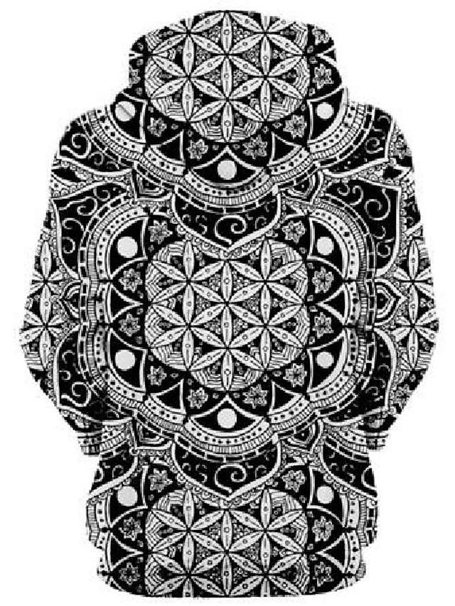 Ανδρικά Γιούνισεξ Φούτερ πουλόβερ με κουκούλα και πουλόβερ Γραφική Γεωμετρικό Τσέπη Causal Καθημερινά Αργίες 3D εκτύπωση Αθλητικός Ρουχισμός Φούτερ Φούτερ Μαύρο