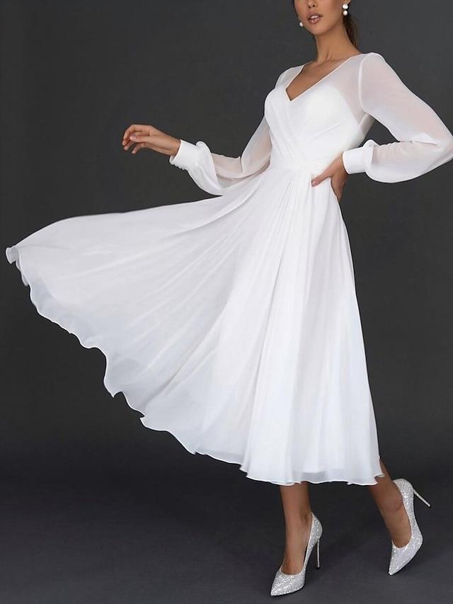 Жен. Платье в стиле 50-х годов Длинное платье Белый Длинный рукав Сплошной цвет обернуть Весна Лето V-образный вырез Элегантный стиль 2021 S M L XL XXL