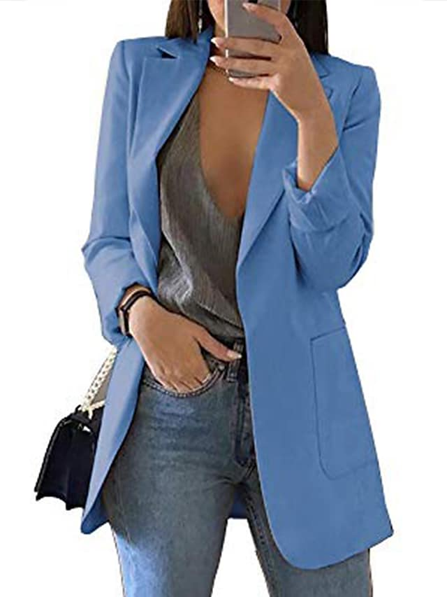 Women's Blazer Solid Color Classic Chic & Modern Long Sleeve Coat Fall Spring Casual Open Front Regular Jacket Wine / Peaked Lapel