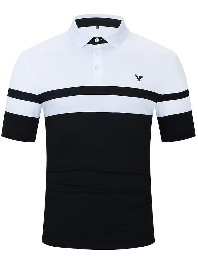 LITB Basic Men's Contrast Panel Polo Shirt Short Sleeve Tops Eagle Emboidery