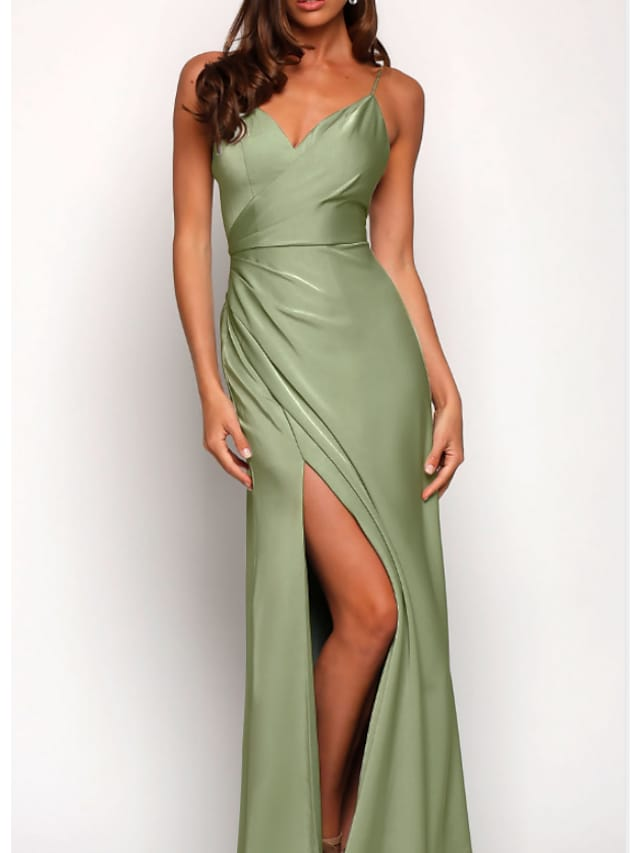 A-Line Spaghetti Strap Floor Length Charmeuse Bridesmaid Dress with Split Front / Ruching