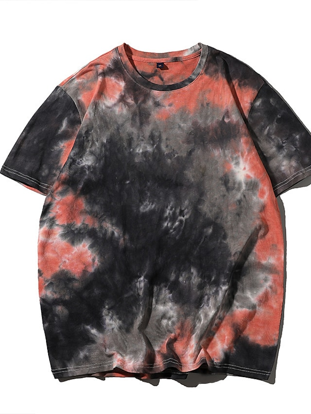 Women's Painting T shirt Tie Dye Print Round Neck Basic Tops Oversized 100% Cotton Black