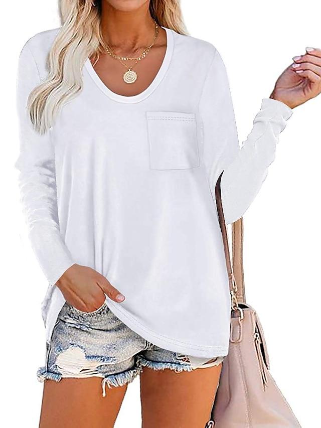 Women's Blouse Shirt Plain V Neck Business Basic Elegant Tops Blue Wine Army Green