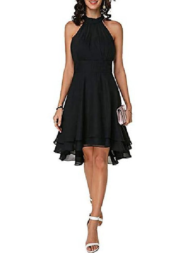 A-Line Flirty Empire Engagement Cocktail Party Dress Halter Neck Sleeveless Knee Length Chiffon with Sleek Tier 2021