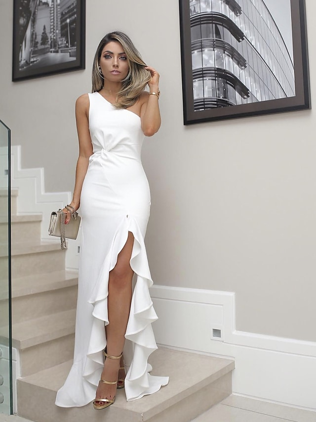 Women's Sheath Dress Maxi long Dress White Black Red Sleeveless Solid Color Split Spring Summer One Shoulder Party Hot Elegant Party 2021 S M L XL