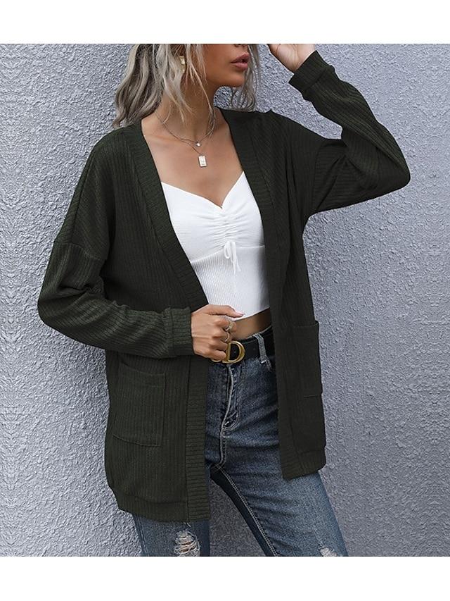 LITB Basic Women's Solid Color Cardigan Long Sleeves Tops Drop Shoulder Pocket