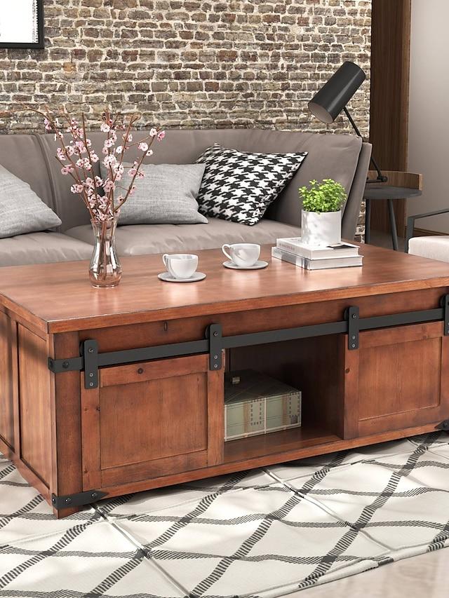 Table basse moderne, table basse marron avec étagère de rangement et armoires portes coulissantes meubles de salon
