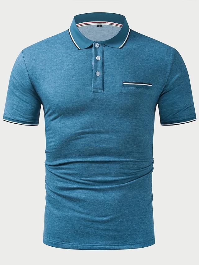 LITB Basic Men's Contrast Binding Polo Shirt Short Sleeve Tops Simple