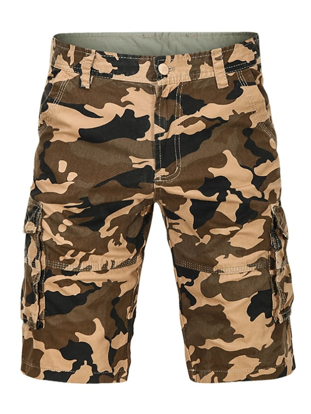 Erkek Temel Şortlar Kargo pantolon Salaş Günlük Pantolon Kamuflaj Diz Boyu Ordu Yeşili Haki / Yaz