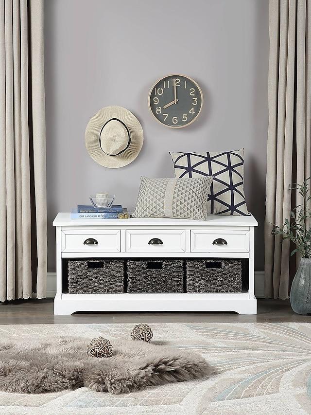 Banc de rangement en bois de collection de maisons blanches avec 3 tiroirs 3 meubles de paniers tressés