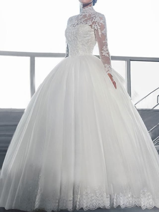 Ball Gown Wedding Dresses High Neck Sweep / Brush Train Lace Long Sleeve Formal Illusion Sleeve with Lace Insert Embroidery 2021