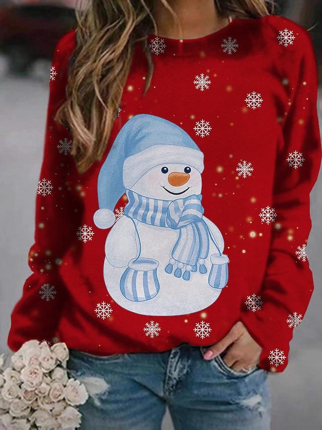 Dames Trui met capuchon Sweatshirt Grafisch Brief Kerstmis Dagelijks Basic Kerstmis Hoodies Sweatshirts blauw Klaver Wit
