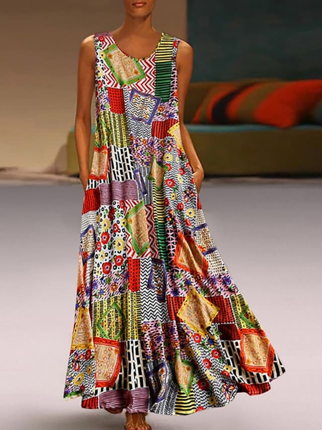 Women's Swing Dress Maxi long Dress Khaki Sleeveless Tribal Geometic Color Block Pocket Summer Round Neck Ethnic Style Hot Casual 2021 M L XL XXL 3XL 4XL 5XL