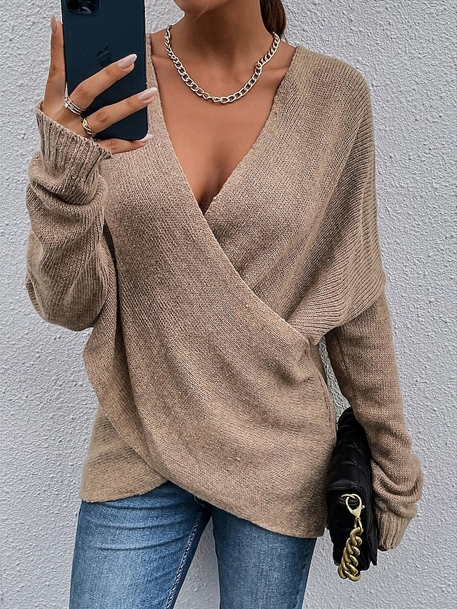 Women's Pullover Sweater Criss Cross Knitted Patchwork Solid Color Stylish Work Casual Long Sleeve Sweater Cardigans V Neck Fall Winter Spring khaki Green Black / Holiday