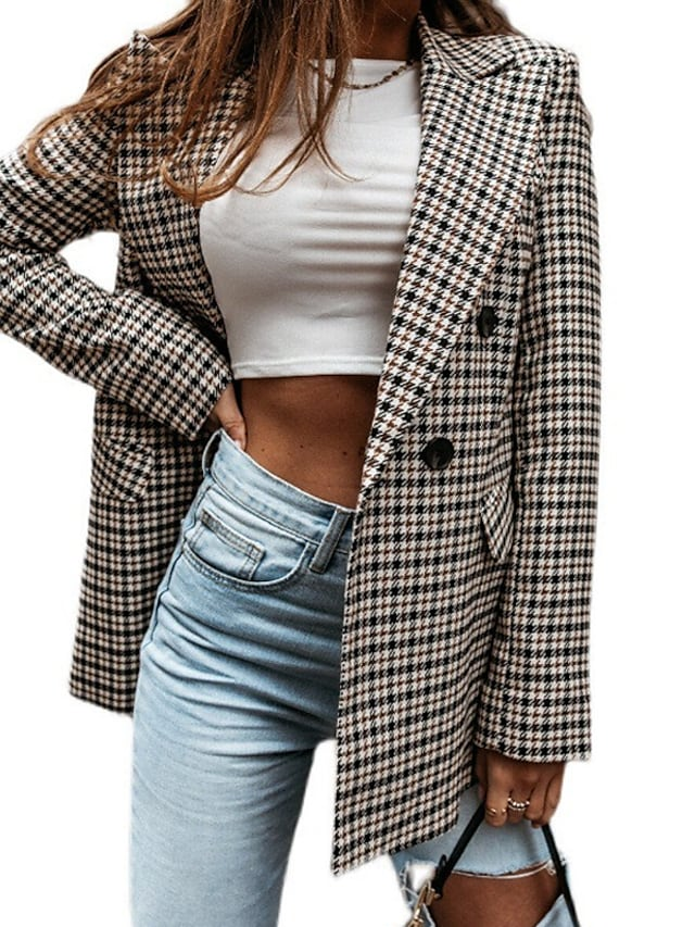 Women's Blazer Daily Spring &  Fall Regular Coat Regular Fit Fashion Casual Jacket Long Sleeve Plaid Check Quilted Gray Work
