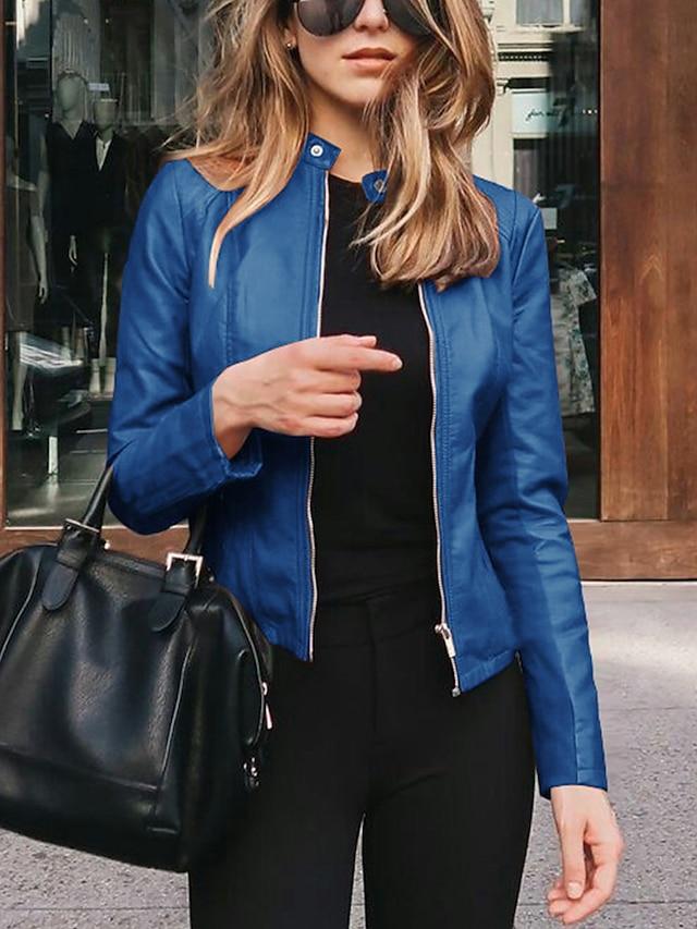 Women's Jacket Street Spring   Fall Regular Coat Slim Fit Chic Modern Jacket Long Sleeve Solid Color Zipper Light Pink Navy