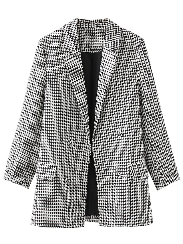 Women's Coat Causal Daily Winter Regular Coat V Neck Standard Fit Casual Jacket Plaid / Check Modern Style Gray