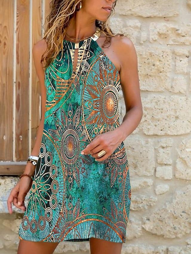 Women's Strap Dress Short Mini Dress Blue Green Light Blue Sleeveless Floral Color Gradient Print Summer Halter Neck Casual 2021 S M L XL XXL 3XL