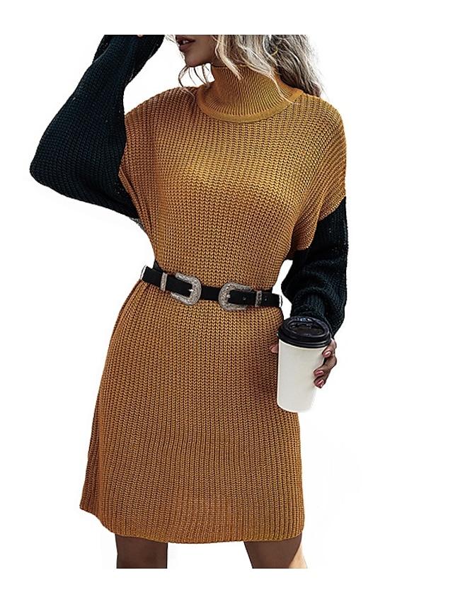 LITB Basic Women's Turtle Neck Sweater Dress Long Sleeves Tops Drop Shoulder Contrast Color