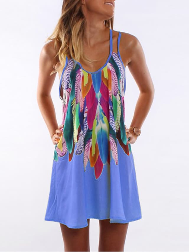 Women's A Line Dress Short Mini Dress Blue Yellow Blushing Pink Orange Sleeveless Print Print Summer Round Neck Casual Holiday 2021 S M L XL XXL 3XL 4XL 5XL